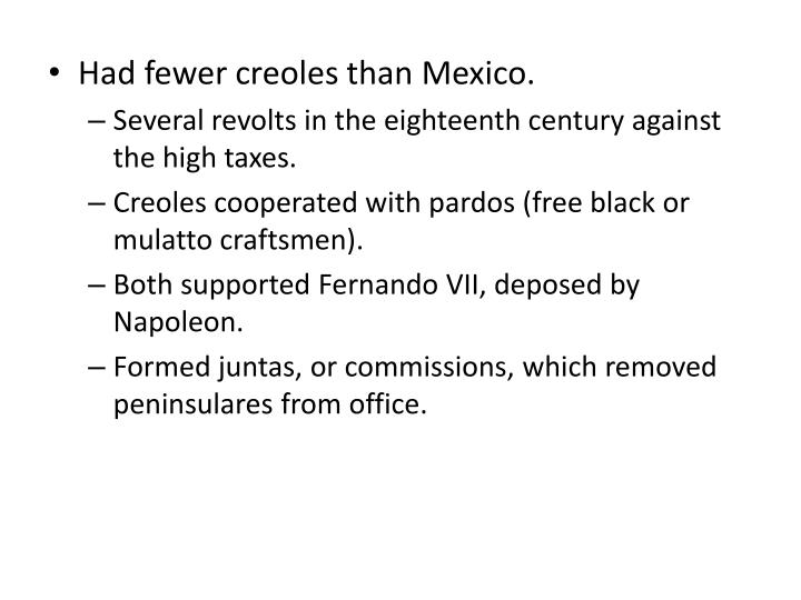 Had fewer creoles than Mexico.
