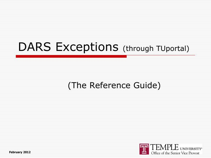 Dars exceptions through tuportal