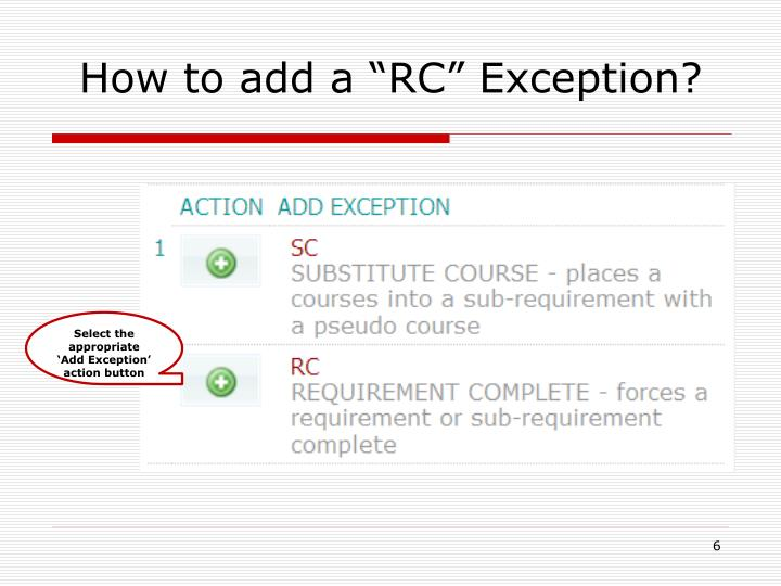 "How to add a ""RC"" Exception?"