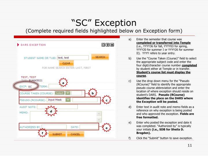 """SC"" Exception"