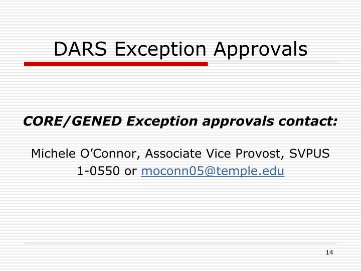 DARS Exception Approvals