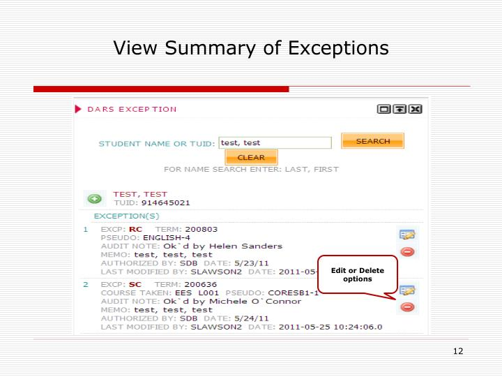 View Summary of Exceptions