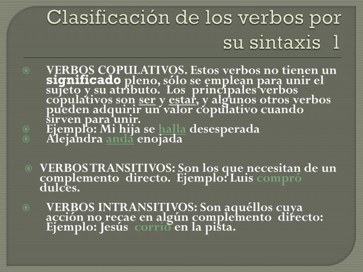 Clasificación de los verbos por su sintaxis  1