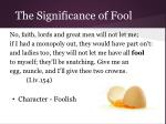 the significance of fool13
