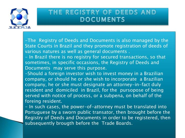 THE REGISTRY OF DEEDS AND DOCUMENTS