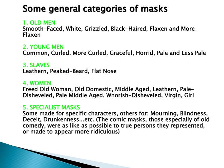 Some general categories of masks
