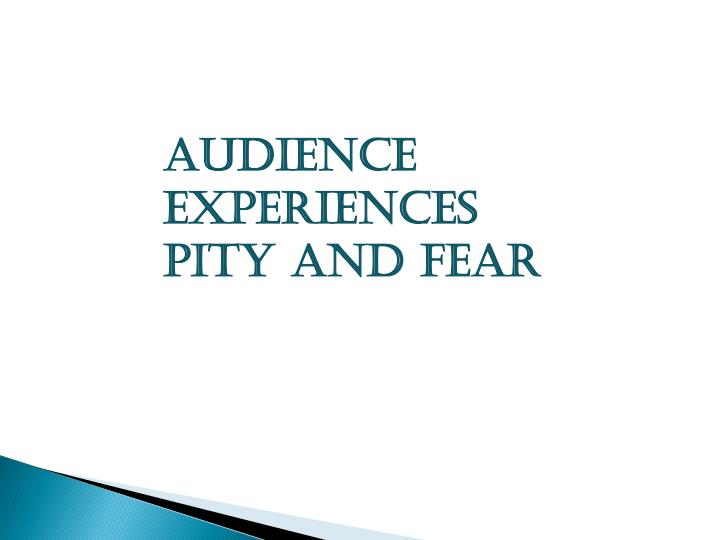 Audience experiences pity and fear