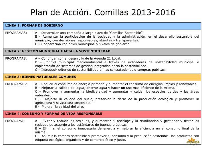 Plan de Acción. Comillas 2013-2016
