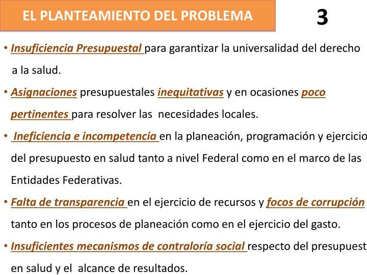 EL PLANTEAMIENTO DEL PROBLEMA
