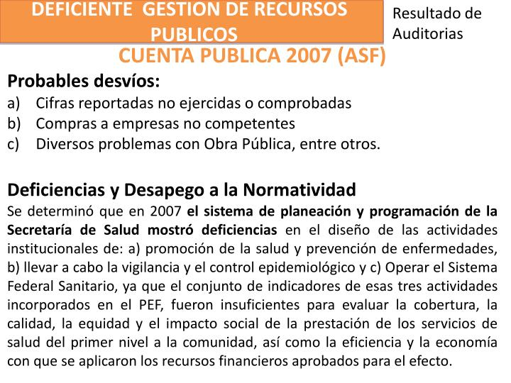 DEFICIENTE  GESTION DE RECURSOS
