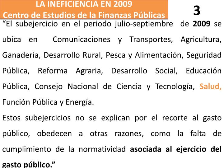 LA INEFICIENCIA EN 2009