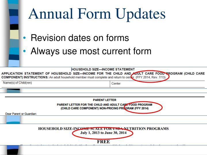 Annual Form Updates