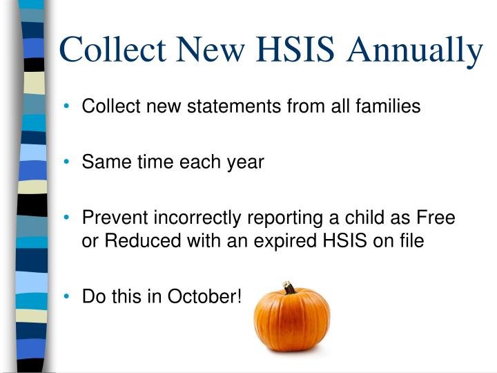 Collect New HSIS Annually