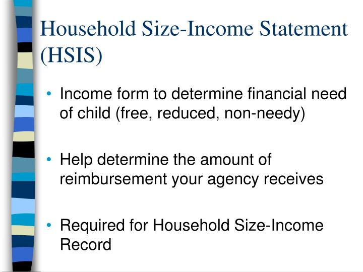 Household Size-Income Statement (HSIS)