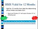 hsis valid for 12 months