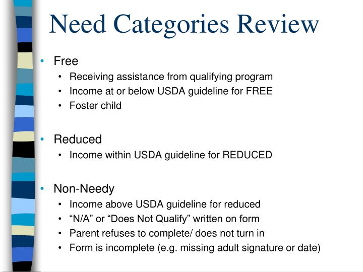 Need Categories Review