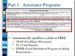 part 1 assistance programs