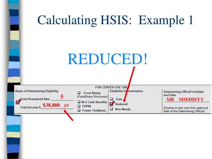 Calculating HSIS:  Example 1