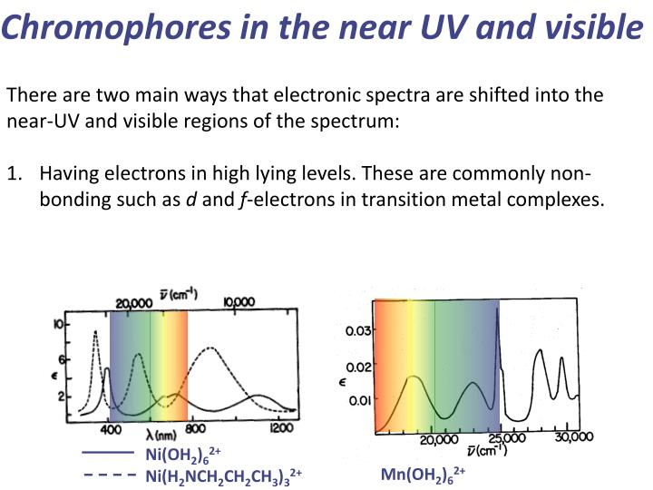 Chromophores in the near UV and visible