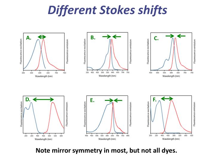 Different Stokes shifts