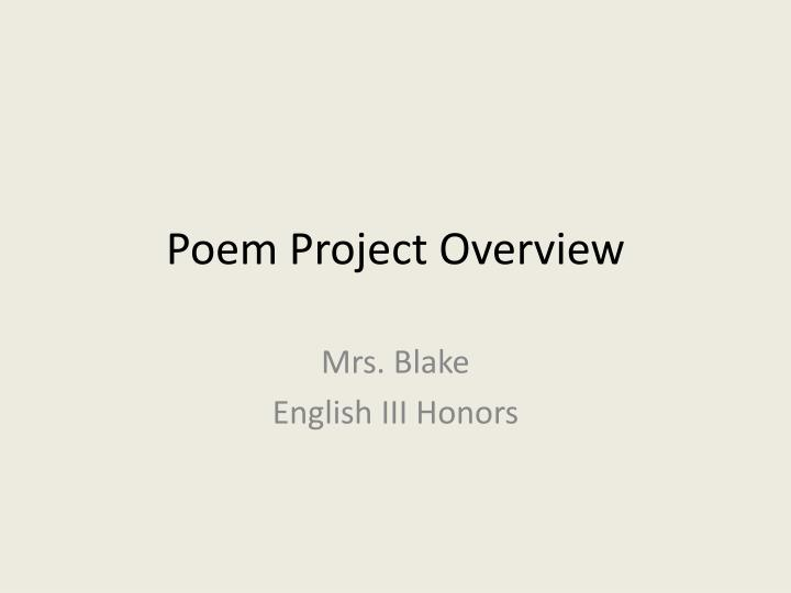 Poem project overview