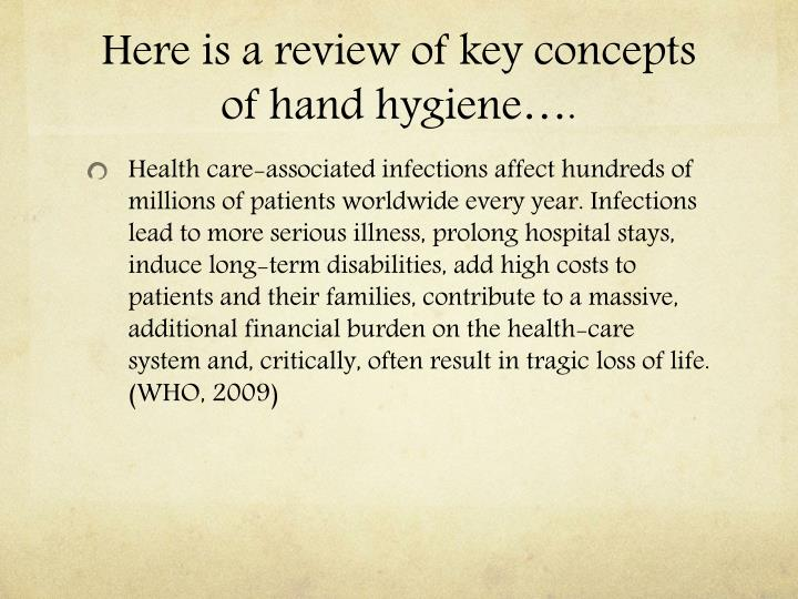 Here is a review of key concepts of hand hygiene….