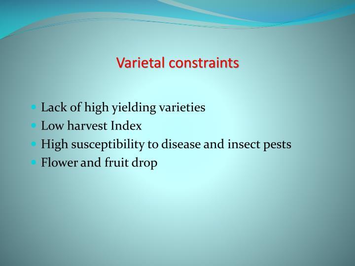 Varietal constraints