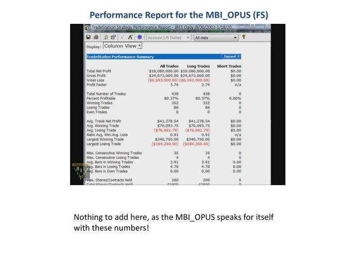 Performance Report for the MBI_OPUS (FS)
