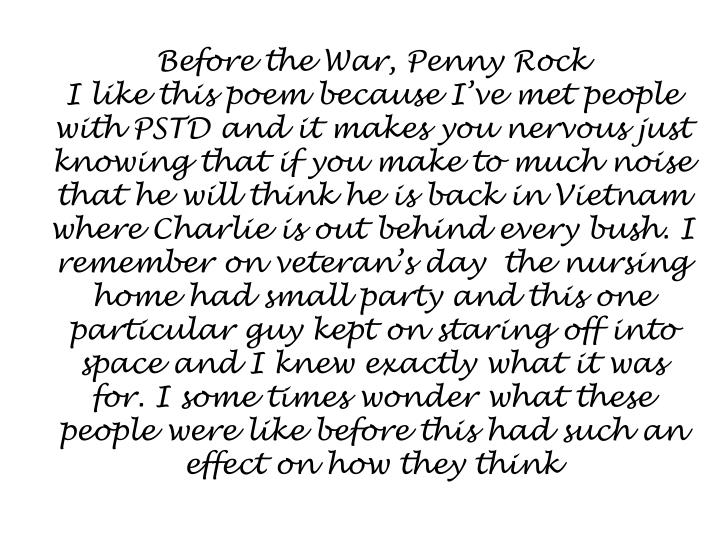 Before the War, Penny Rock