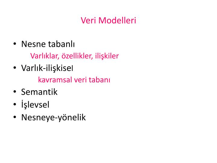 Veri Modelleri