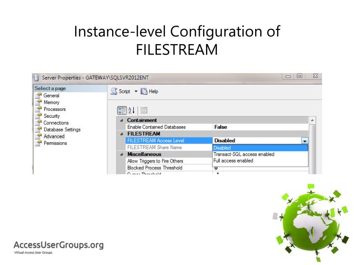 Instance-level Configuration of FILESTREAM