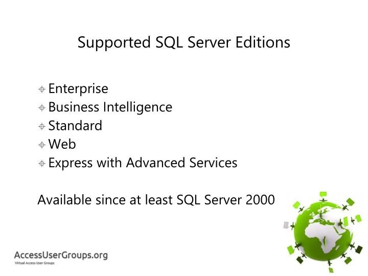 Supported SQL Server Editions