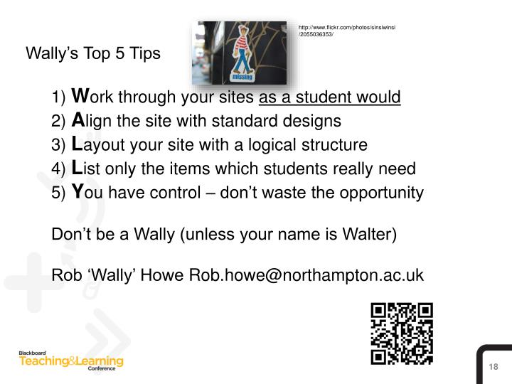 Wally's Top 5 Tips