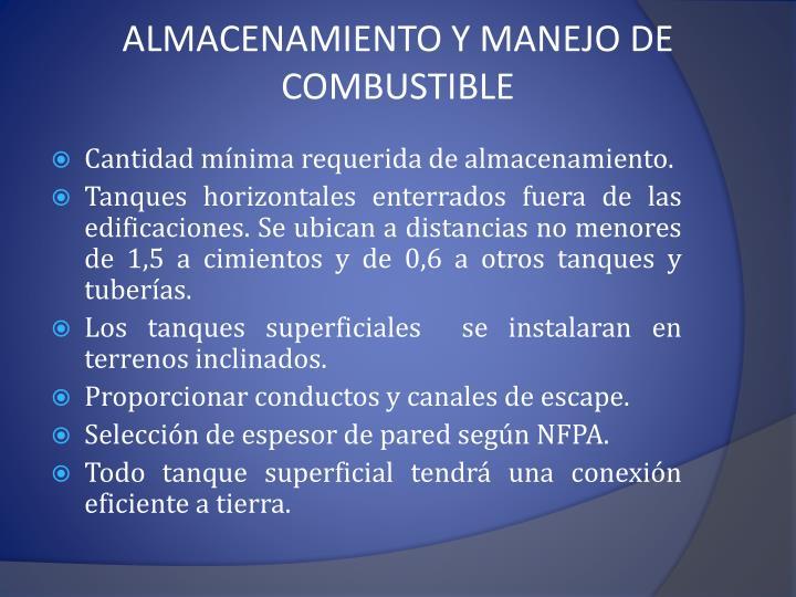 ALMACENAMIENTO Y MANEJO DE COMBUSTIBLE