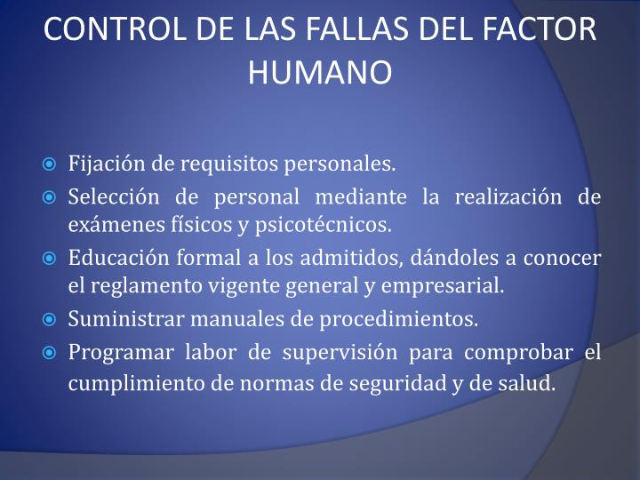 CONTROL DE LAS FALLAS DEL FACTOR HUMANO