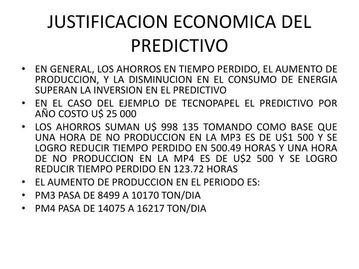 JUSTIFICACION ECONOMICA DEL PREDICTIVO