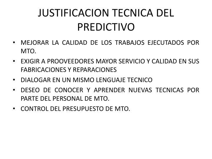 JUSTIFICACION TECNICA DEL PREDICTIVO
