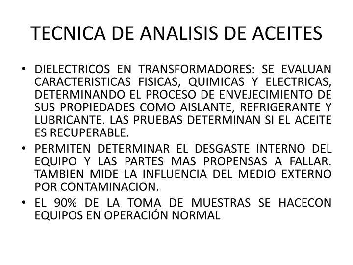 TECNICA DE ANALISIS DE ACEITES