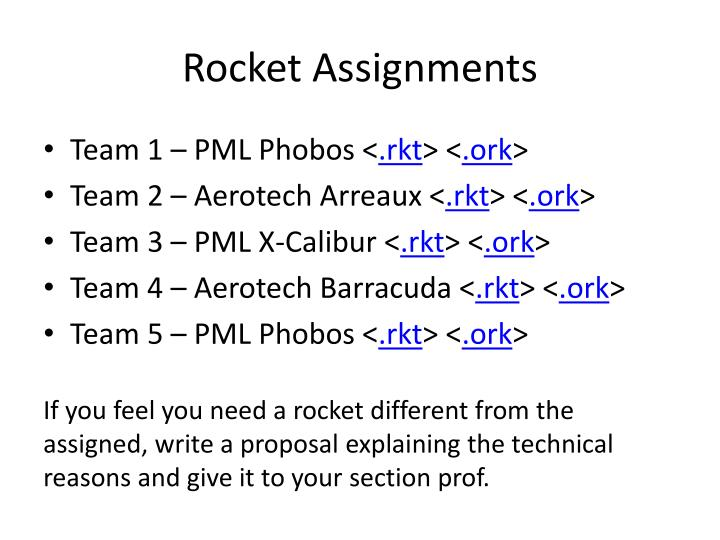 Rocket Assignments