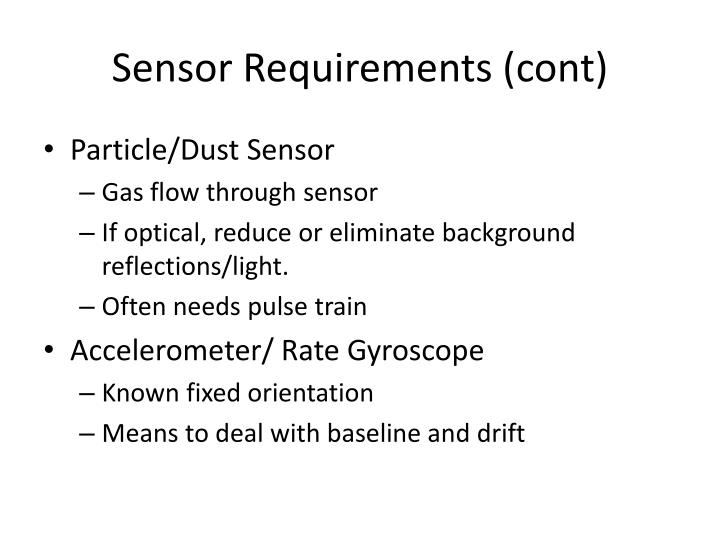 Sensor Requirements (