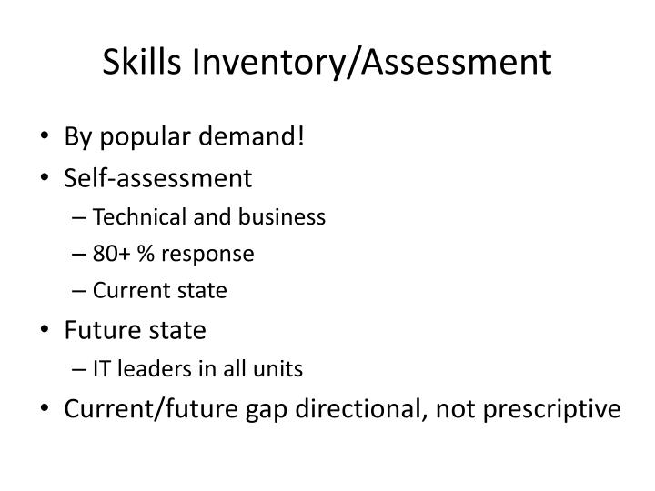 Skills Inventory/Assessment