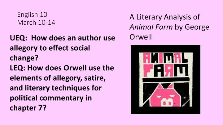 a literary analysis of the characters in animal farm by george orwell