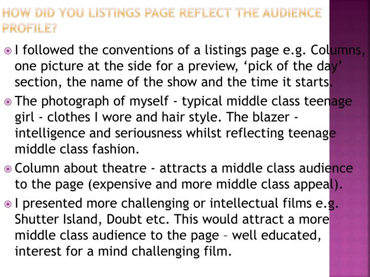 How did you listings page reflect the audience profile?