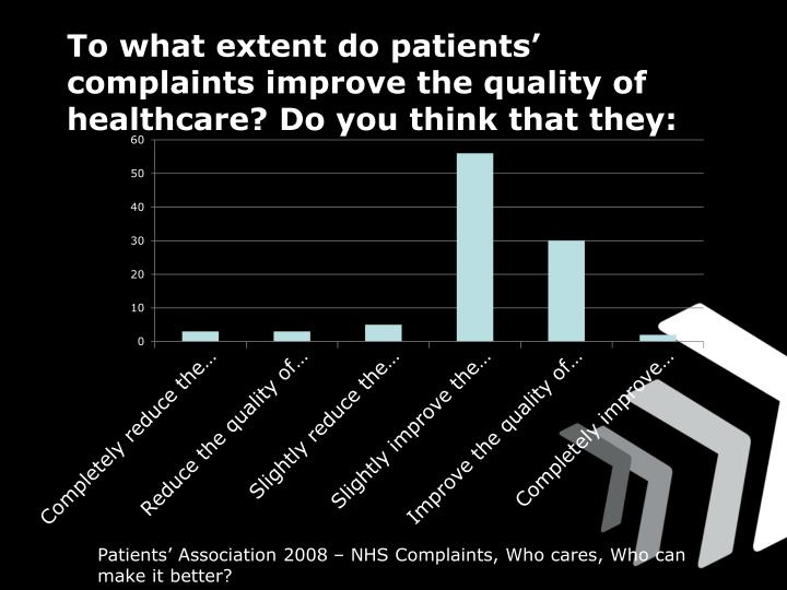 To what extent do patients' complaints improve the quality of healthcare? Do you think that they: