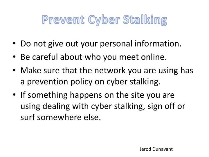 Prevent Cyber Stalking