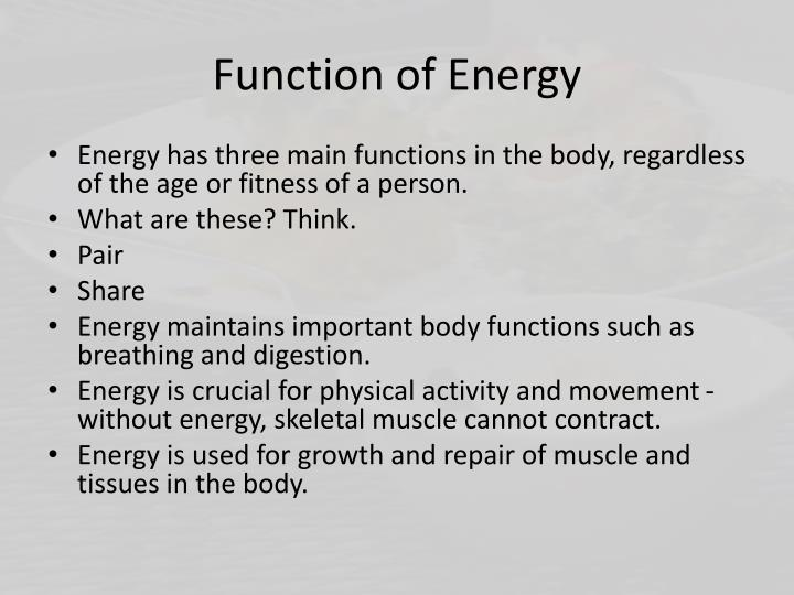 Function of Energy