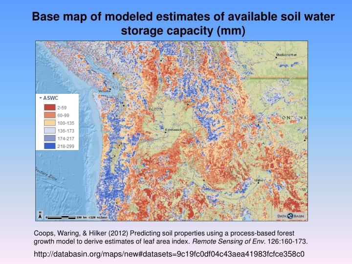 Base map of modeled estimates of available soil water storage capacity mm