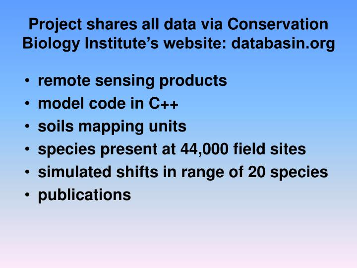 Project shares all data via Conservation Biology Institute's website: databasin.org
