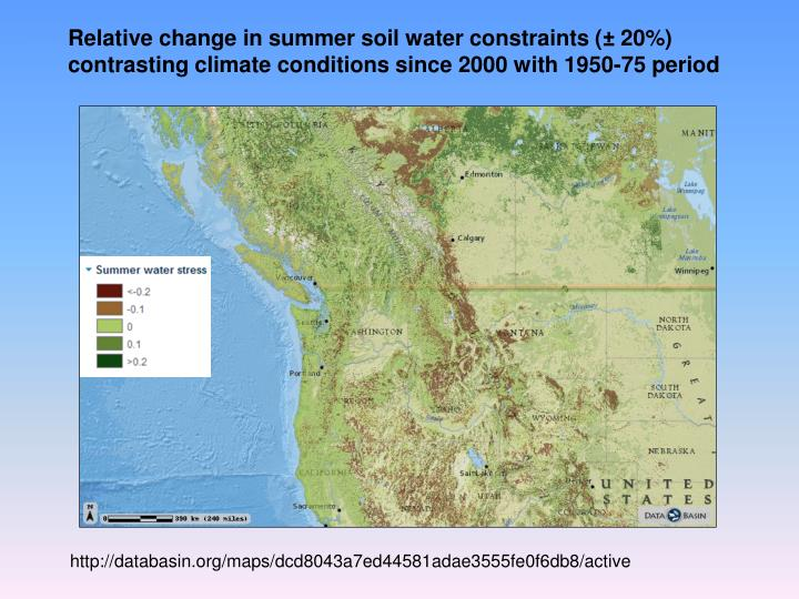 Relative change in summer soil water constraints (± 20%)