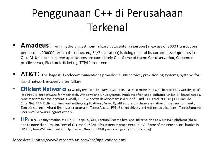 Penggunaan C++ di Perusahaan Terkenal
